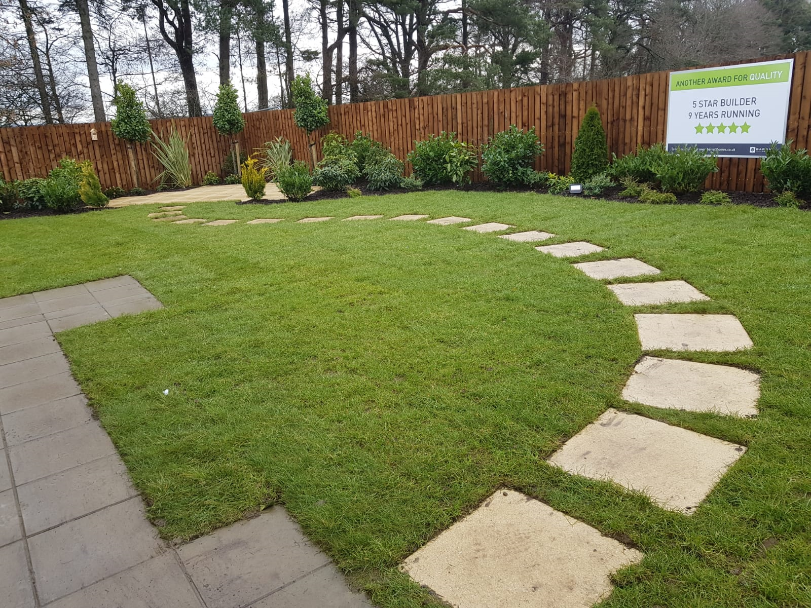 This is when Scotlawn Silver has been laid. Green and thriving this garden is ready for everyday life.